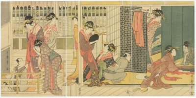 Kitagawa Utamaro, 'Early Morning at a Temporary Brothel', ca. 1800