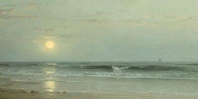 William Trost Richards, 'Moonrise over the Beach', Date Unknown