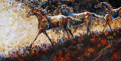 Laurie Pace, 'Original Horse Painting 'Running the Ridge at Dusk' Colorful Equine Art, Modern Western Art', 2017