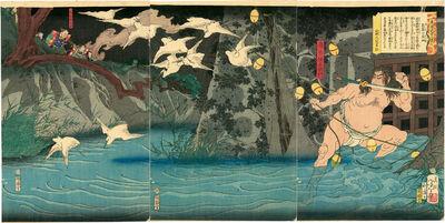 Tsukioka Yoshitoshi, 'Torii Suneemon Katsutaka and Herons', 1868