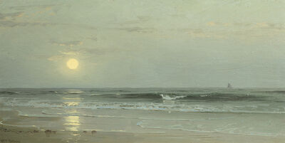 William Trost Richards, 'Moonrise over the Beach', Late 19th century