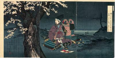 Kobayashi Kiyochika 小林清親, 'Taira no Tadanori Beneath a Cherry Tree', 1884
