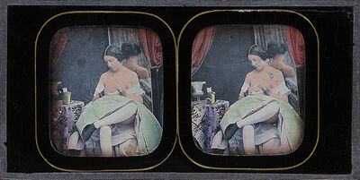 Félix-Jacques Moulin, 'Seated Female Nude with Green Skirt at Mirror', 1850s/1850s