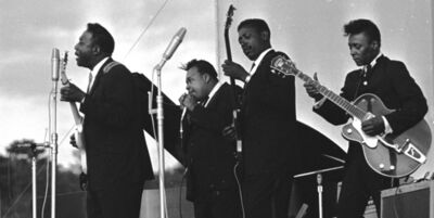 John 'Hoppy' Hopkins, 'Muddy Waters, James Cotton, Jimmy Lee Morris and Peewee Madison, Newport Jazz Festival', 1965
