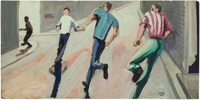 Herman Volz, ''Giving Chase' California Modernist Oil Painting', Mid-20th Century