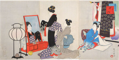 Miyagawa Shuntei, 'Twelve Months of Beauties: November, Before the Mirror', 1899