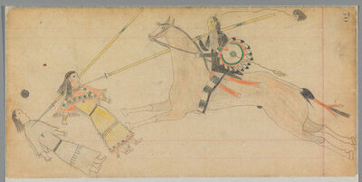 Unknown Cheyenne Artist, 'Ledger Drawing', ca. 1875