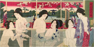 Yoshu Chikanobu, 'View of a Modern Hotspring', ca. 1881