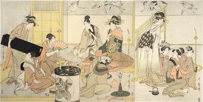 Kitagawa Utamaro, 'Niwaka Festival Performers in Yoshiwara Teahouse', ca. 1800-01