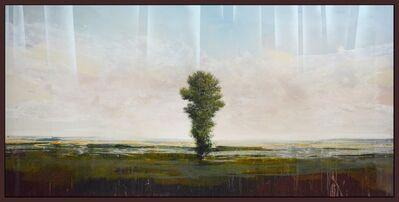 Peter Hoffer, 'Guardian - large, green, blue, landscape, impressionist, acrylic, resin on panel', 2014