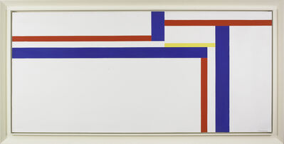 Ilya Bolotowsky, 'White Horizontal with Blue, Red, and Yellow', 1973