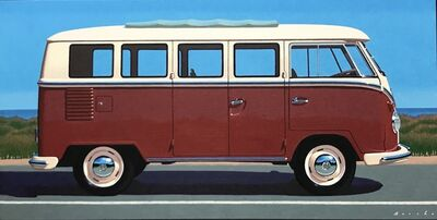 "Rob Brooks, '""Samba at State"" Photorealistic oil painting of a maroon Volkswagen Bus with Blue Sky', 2019"