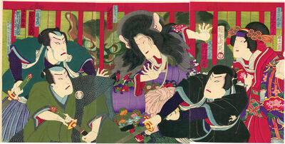 Toyohara Chikanobu, 'Cat Witch Triptych', 1880