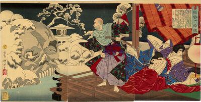 Tsukioka Yoshitoshi, 'Taira no Kiyomori Sees Skulls in the Snowy Garden', 1883