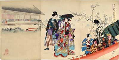 Toyohara Chikanobu, 'Chiyoda Inner Palace: First Horse Day', 1896
