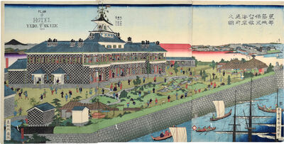 Utagawa Kuniteru II, 'The Seaside Garden of the Tsukiji Hotel in the Eastern Capital [Plan of Hotel at Yedo, T'skege]', 1868