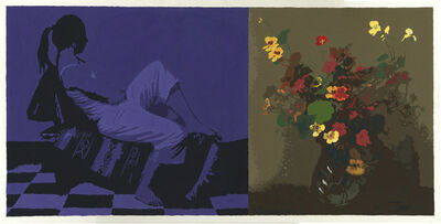 Sean Cain, 'Diptych with Seated Figure and Fantin-Latour Nasturtiums', 2017