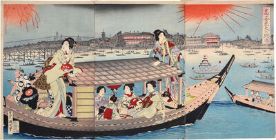 Toyohara Kunichika, 'Fireworks in an Evening Cool at Ryogoku', ca. 1895-96