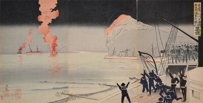 Kobayashi Kiyochika 小林清親, 'The Great Victory of Japanese Navy at Inchon', 1904