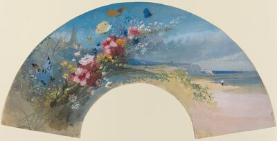 Félix Hilaire Buhot, 'Fan with Wildflowers and Butterflies against the Norman Coast', ca. 1875