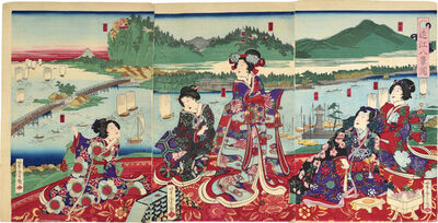 Utagawa Yoshitora, 'Illustration of the Eight Views of Omi', 1872