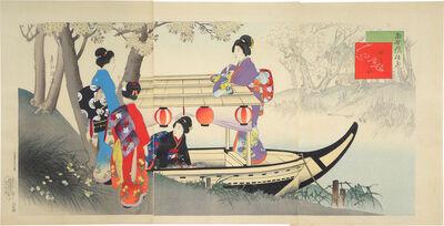 Miyagawa Shuntei, 'Elegant Customs and Manners of Today: Evening Pleasure Boat', ca. 1899
