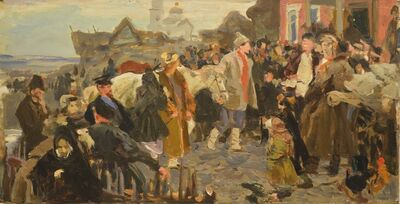 Vladimir Semenovich Zakharkin, 'Constituting a Kolkhoz', 1950