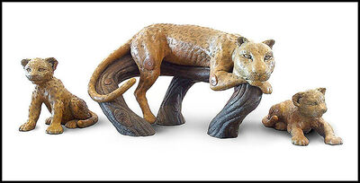 Jiang Tiefeng, 'Jiang Tie Feng Large Leopard Family Full Round Bronze Sculpture Signed Artwork', 1999