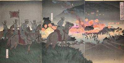 Kobayashi Kiyochika 小林清親, 'Crossing Ansong River at the Battle of Asan', 1894