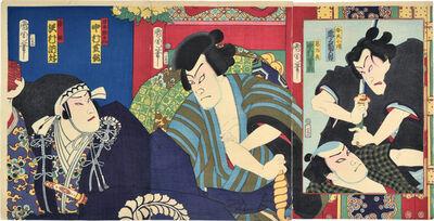 Toyohara Kunichika, 'Onoe Kikugoro V as Benten Kozo, Nakamura ?-suke as Akujiro, Nakamura Shikan IV as Nihon Daemon, and Sawamura Tossho II as Fujitsuna', 1870