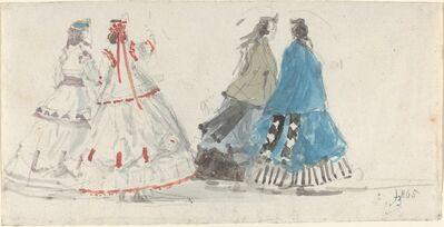 Eugène Boudin, 'Four Ladies in Crinolines Walking at Trouville', 1865