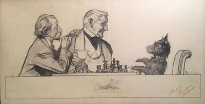 Norman Rockwell, 'Gentlemen and Scottie dog at Chess Board', 20th Century