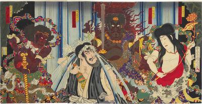 Toyohara Kunichika, 'Prince Mongaku with Fudo Myo-o, Kongara, and Seitaka Beneath the Nachi Waterfall', ca. 1883