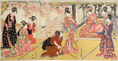 Utagawa Toyokuni I, 'Acting Out a Scene from the Play 'Kagamiyama'', ca. 1800