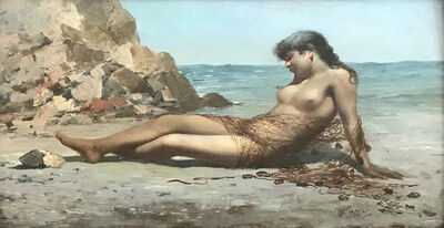 """Francesco Paolo Passini, '""""Desnudo en el Mediterráneo""""', ca. 1910"""