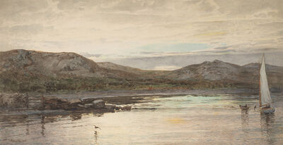 William Trost Richards, 'Moored Sailboat Inlet', 1888