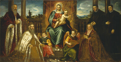Jacopo Tintoretto, 'Doge Alvise Mocenigo and Family before the Madonna and Child', probably 1573