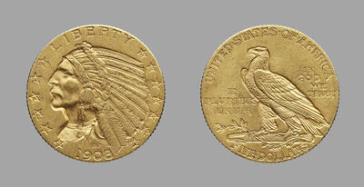 Bela Lyon Pratt, 'Half-Eagle ($5.00 Gold Piece)', 1908