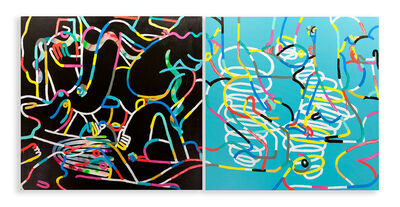 Mike Perry, 'An Orgy of Lines (Diptych)', 2015