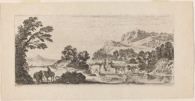 Stefano Della Bella, 'Landscape with Bridge', 1641