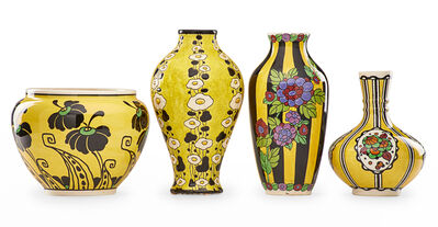 Charles Catteau, 'Four Art Deco Keramis vases with stylized flowers'