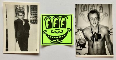 Keith Haring, 'Two photo postcards & vintage sticker', 1983-1988