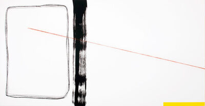 Francisco Ugarte, 'Sin Título (Óleo amarillo, acrílico negro, tiralíneas rojo, grafito, carboncillo y gesso sobre un bastidor de lino de 100 x 190 cm)', 2019