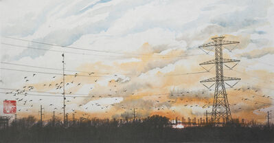 Mark Chen, 'Cloudscape, Migratory Birds and Power Lines', 2015
