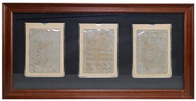 Marcel Broodthaers, 'Three magic slate boards mounted on grey card', 1974-1975