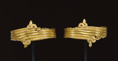 'Pair of wrist bracelets in the form of coiled snakes', 220 -100 BCE