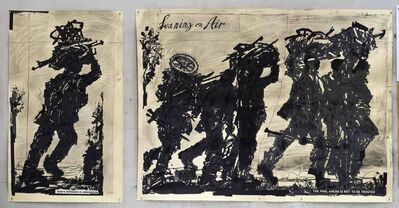 William Kentridge, 'Refugees I & II: (Leaning On Air & God's Opinion is Unknown)', 2018