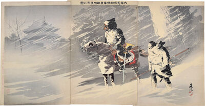 Taguchi Beisaku, 'Picture of Our Officer Single-Handedly Scouting Out Enemy Territory Braving the Heavy Snow', 1895