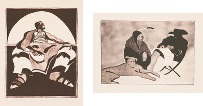 Fritz Scholder, '(2) Indian in Spotlight (T: 72-207) & Indian, Dog and Friend (T: 73-230)', 1972 & 1973