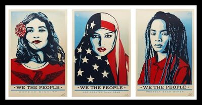 """Shepard Fairey, 'Triptych: """"We the People: Greater Than Fear, Defend Dignity, & Protect Each Other"""" - Three (3) Limited Edition Hand Signed Lithographs', 2017"""
